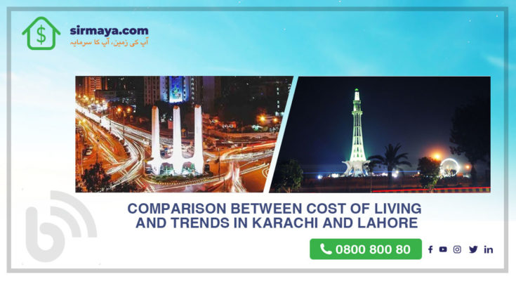 Comparison between cost of living and Trends in Karachi and Lahore